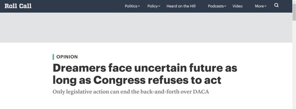 """LIBRE Policy Director Kevin Hernandez's latest op-ed in Roll Call, """"Dreamers face uncertain future as long as Congress refuses to act"""""""