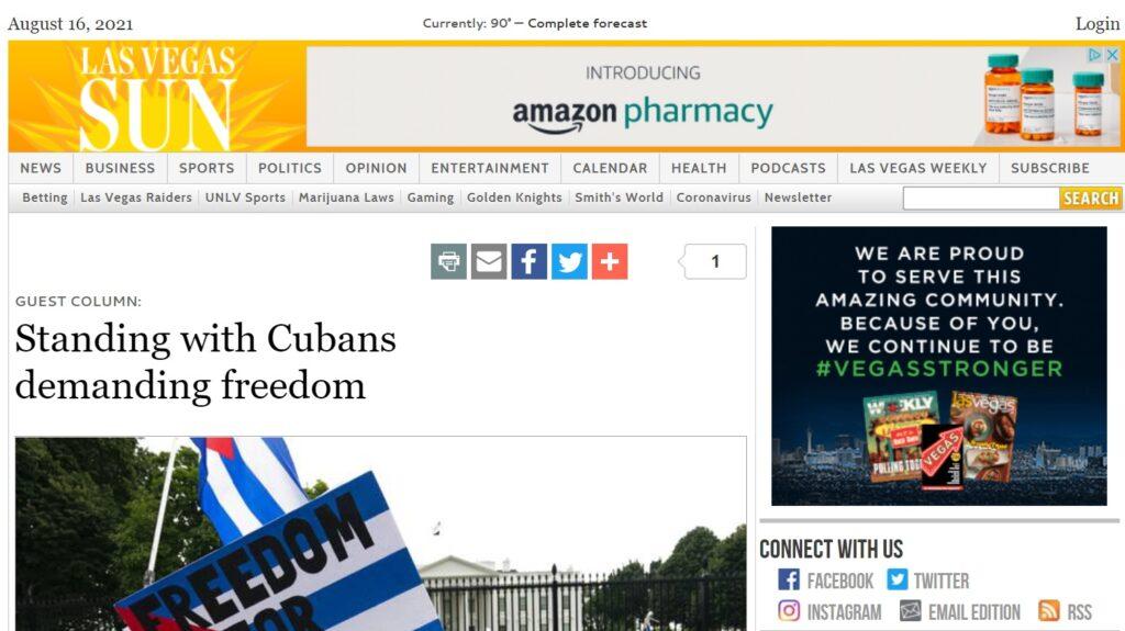 Click here to read Eddie Diaz's Las Vegas Sun op-ed on standing with Cubans demanding freedom.