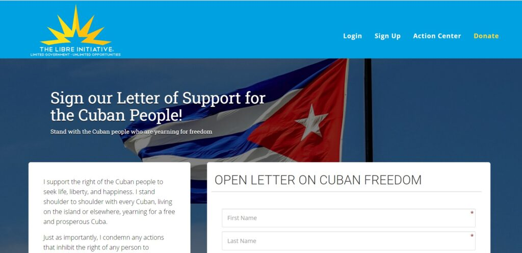 Sign the letter of support for the Cuban people!