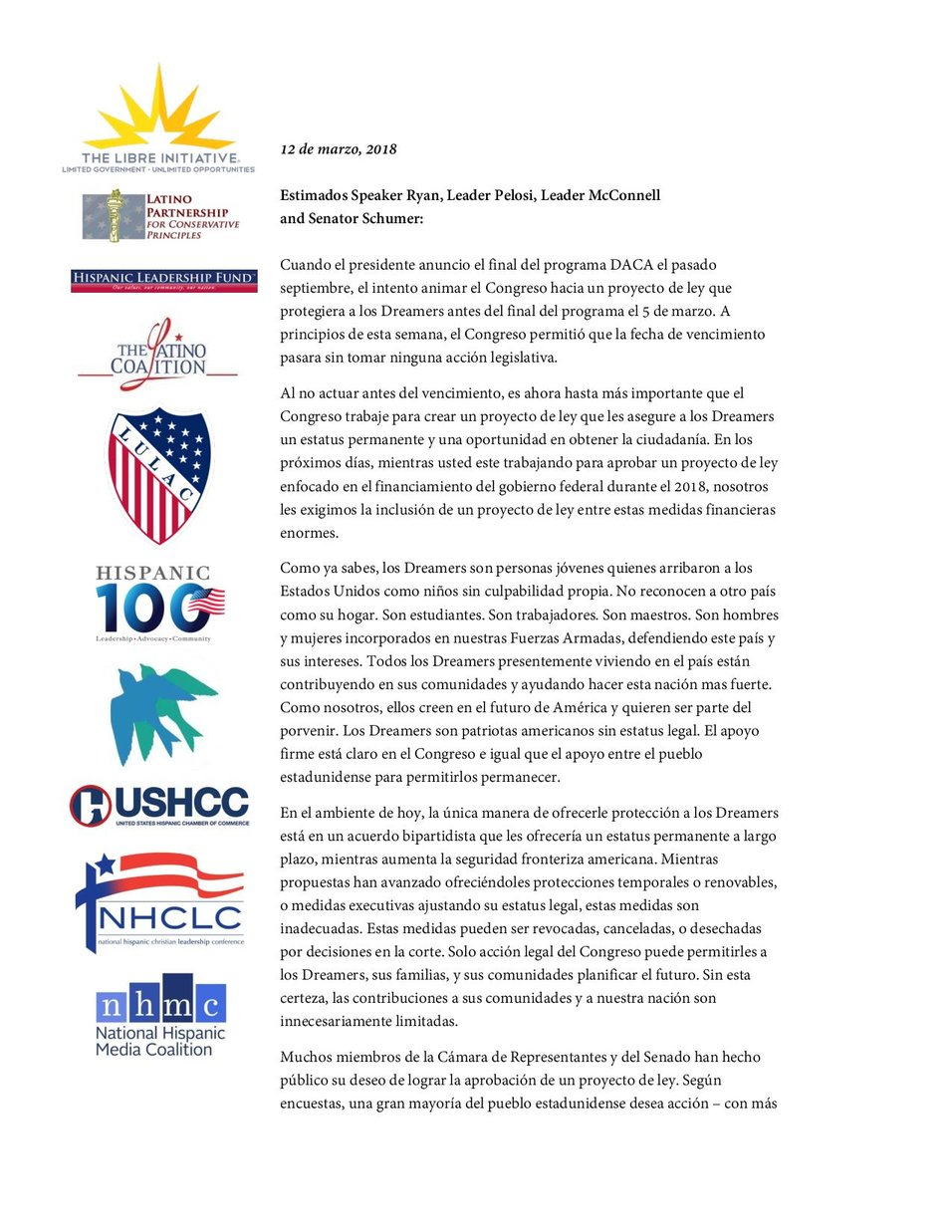 DACA Coalition Letter